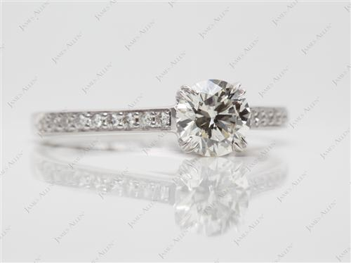 White Gold 0.73 Round cut Pave Ring
