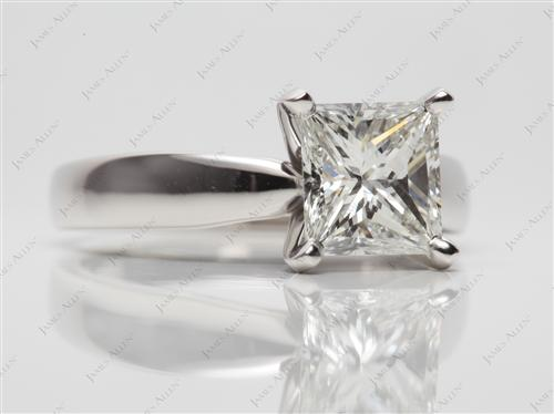 Platinum 1.80 Princess cut Solitaire Ring Setting