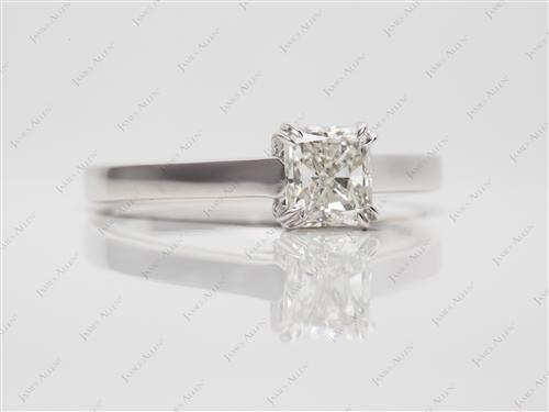 White Gold 0.81 Radiant cut Engagement Ring