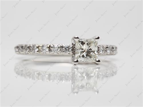 Platinum 0.50 Princess cut Pave Diamond Engagement Rings