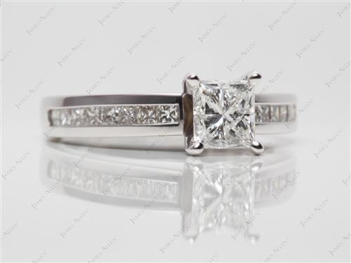 White Gold 1.01 Princess cut Channel Set Rings