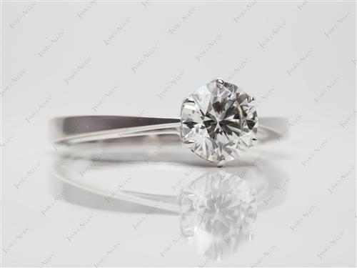 White Gold 1.02 Round cut Diamond Engagement Solitaire Rings