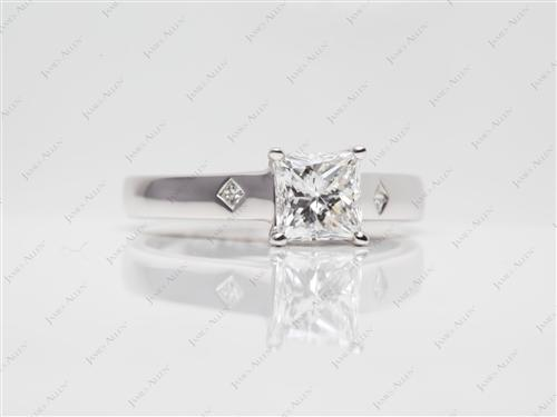 White Gold 1.20 Princess cut Engagement Ring