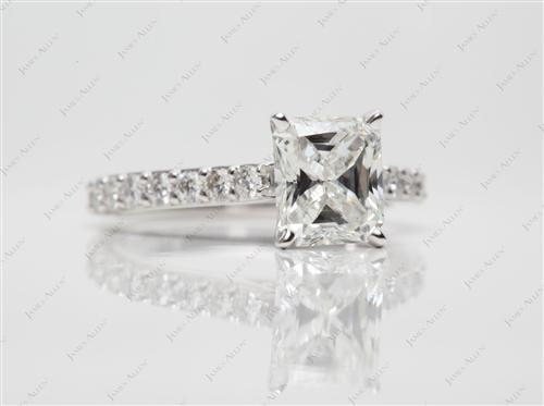 White Gold 1.31 Radiant cut Engagement Ring Side Stones