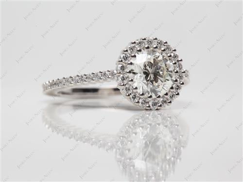 White Gold 1.10 Round cut Micro Pave Setting