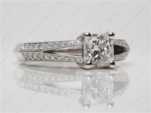 Gold 1.23 Cushion cut Pave Engagement Rings
