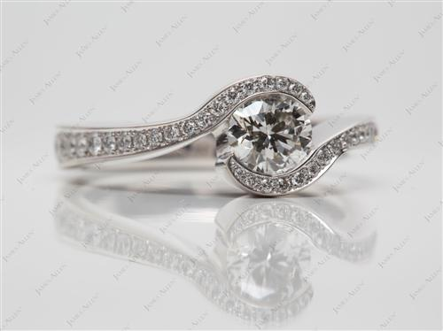 White Gold 0.70 Round cut Pave Engagement Ring