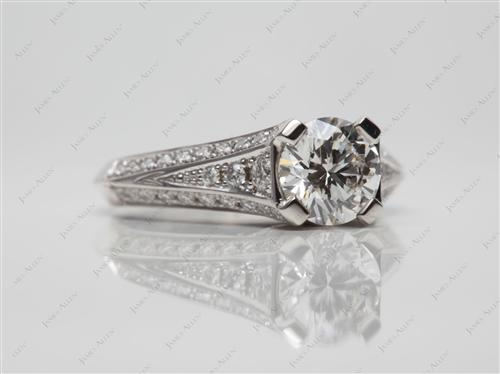 White Gold 0.91 Round cut Engagement Ring