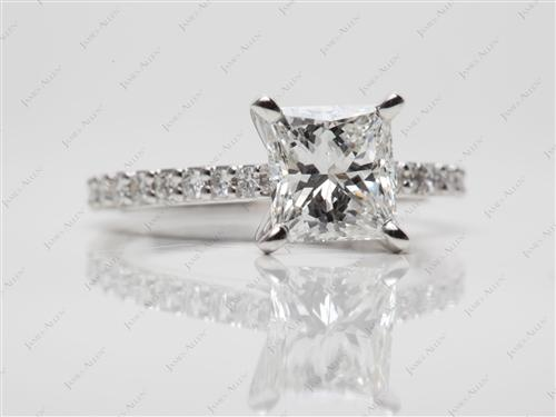 White Gold 1.60 Princess cut Side Stone Engagement Rings