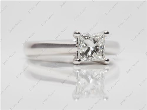 White Gold 0.77 Princess cut Diamond Solitaire Ring Settings