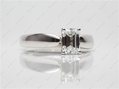 Platinum 1.03 Emerald cut Solitaire Ring Mountings