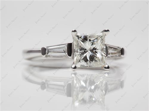 White Gold 1.03 Princess cut Engagement Ring Side Stones