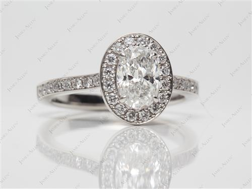 Platinum 1.01 Oval cut Engagement Ring