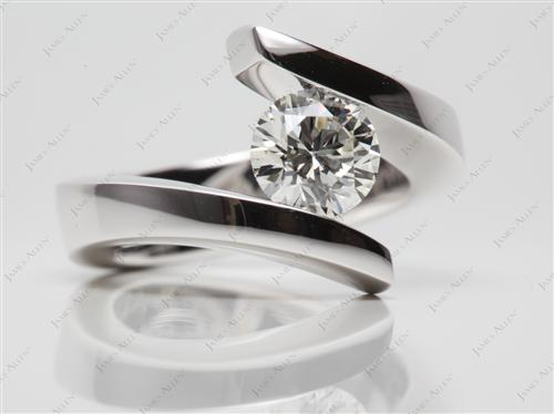 White Gold 1.05 Round cut Diamond Rings