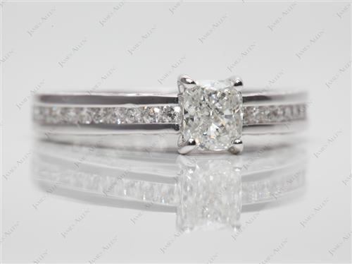 White Gold 0.51 Cushion cut Channel Set Eternity Rings