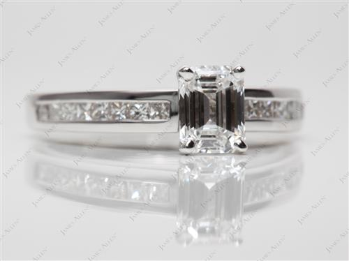 White Gold 1.19 Emerald cut Channel Set Diamond Engagement Rings