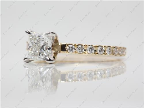 Gold 0.85 Princess cut Pave Ring Settings