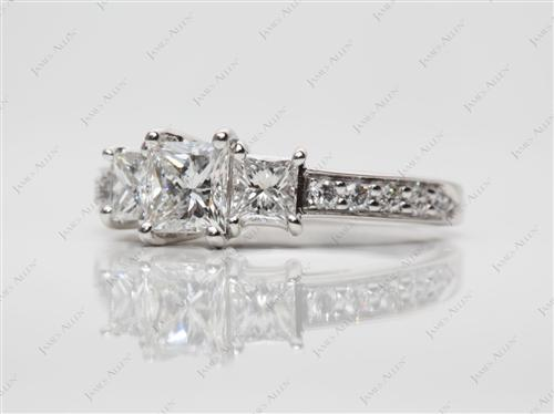 Platinum 0.59 Princess cut Three Stones Ring