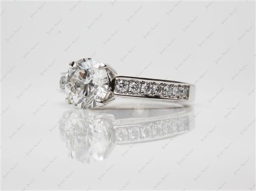 Platinum 1.80 Round cut Diamond Pave Ring