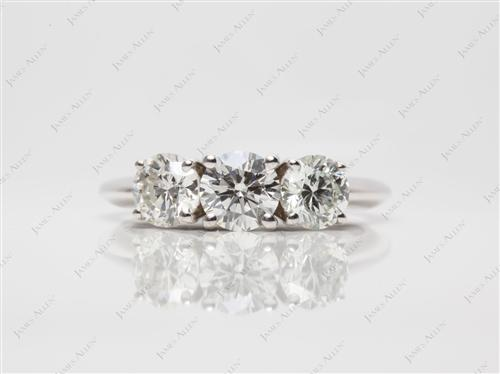 White Gold 0.60 Round cut Three Stones Rings
