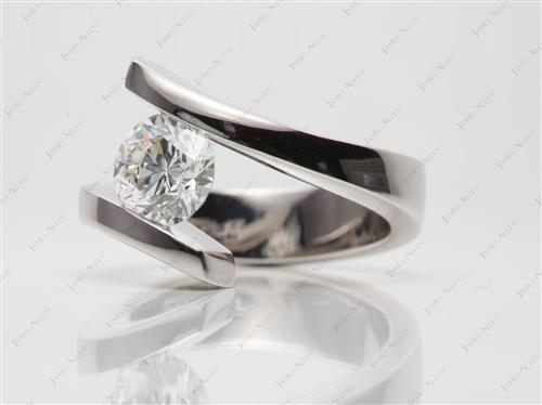 Platinum 1.50 Round cut Tension Diamond Rings