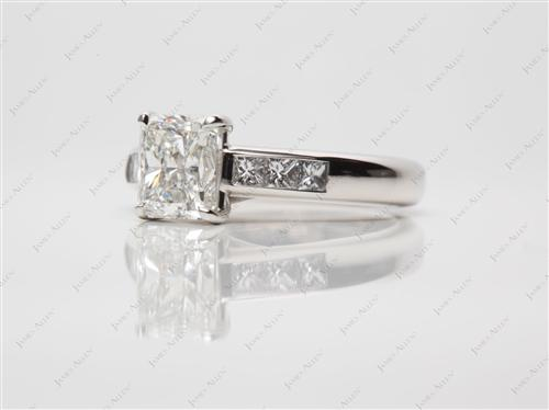 Platinum 1.70 Radiant cut Channel Setting Ring