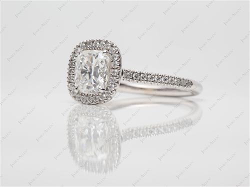 White Gold 1.51 Cushion cut Micro Pave Rings