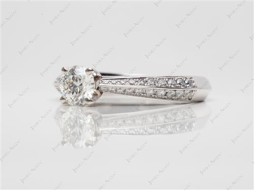 White Gold 0.51 Round cut Engagement Rings Pave