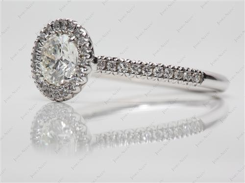 White Gold 0.80 Round cut Pave Diamond Engagement Rings