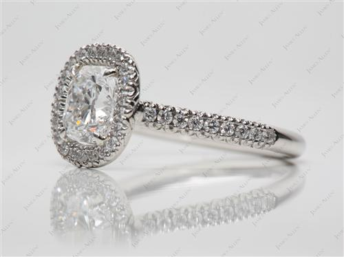 Platinum 1.06 Cushion cut Engagement Ring