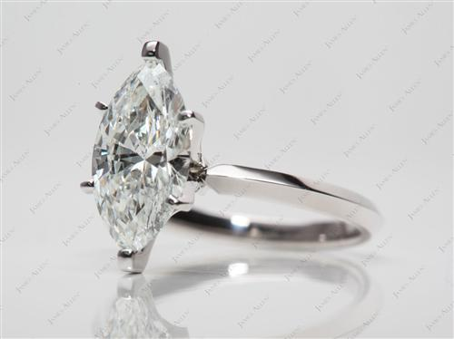 Platinum 1.80 Marquise cut Diamond Solitaire Rings