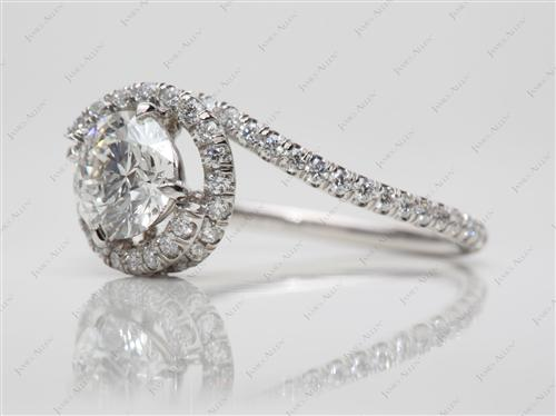 Platinum 1.02 Round cut Meno Engagement Rings