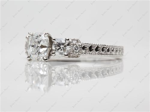 Platinum 1.01 Radiant cut Diamond Ring With Side Stones