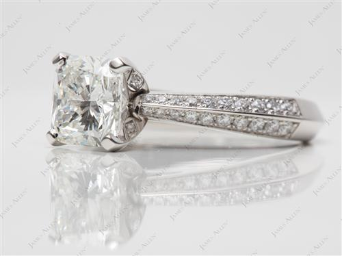 Platinum 1.53 Cushion cut Pave Diamond Engagement Rings