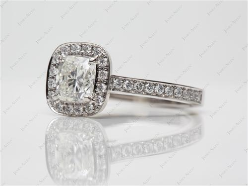 Platinum 1.00 Cushion cut Pave Ring Mountings