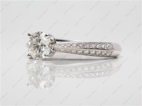 White Gold 0.75 Round cut Pave Ring