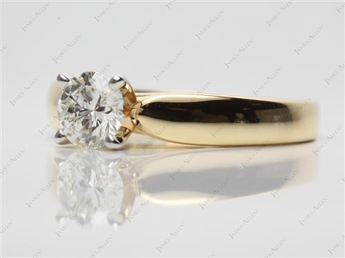 Gold 0.71 Round cut Diamond Rings