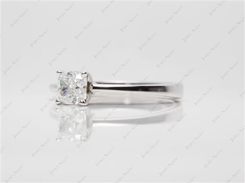 White Gold 0.81 Cushion cut Solitaire Rings