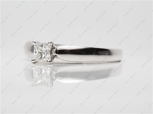White Gold 0.53 Princess cut Solitaire Ring Mountings