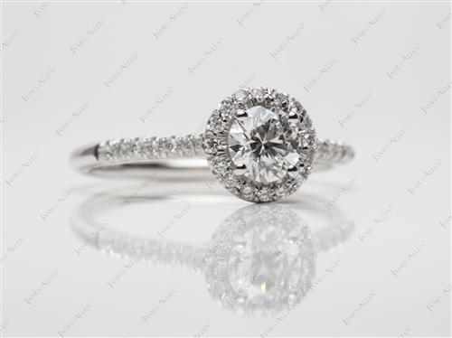 Platinum 0.62 Round cut Pave Diamond Rings