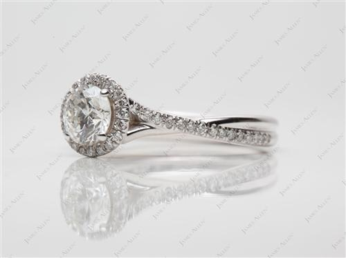 White Gold 0.78 Round cut Pave Engagement Rings