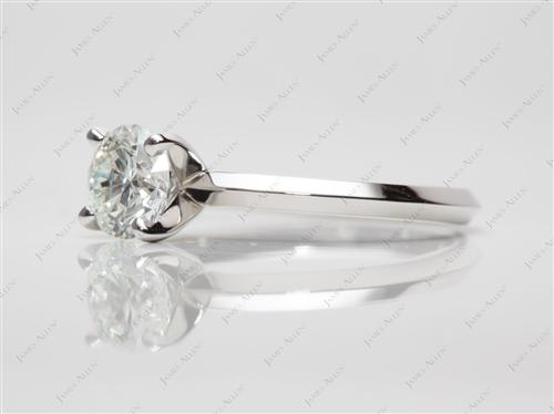 Platinum 0.82 Round cut Diamond Solitaire Rings