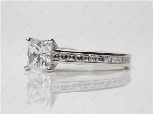 Platinum 1.13 Princess cut Channel Set Diamonds