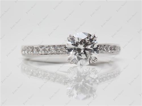 White Gold 0.81 Round cut Pave Diamond Engagement Ring