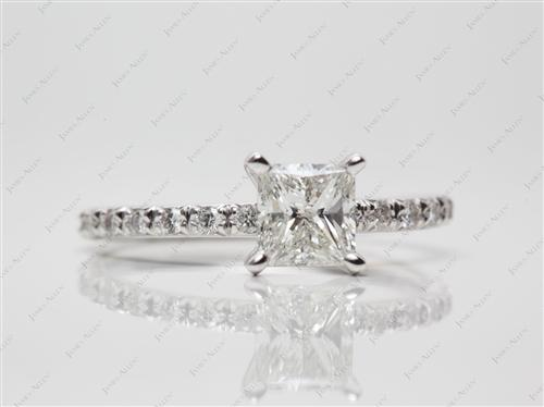 White Gold 1.00 Princess cut Diamond Ring
