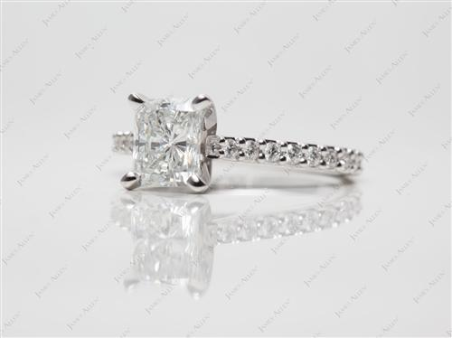 White Gold 1.17 Radiant cut Engagement Rings With Sidestones