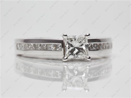 White Gold 0.70 Princess cut Channel Setting Engagement Rings