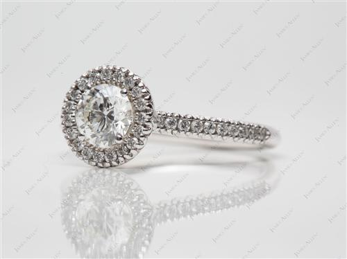 White Gold 0.63 Round cut Pave Ring