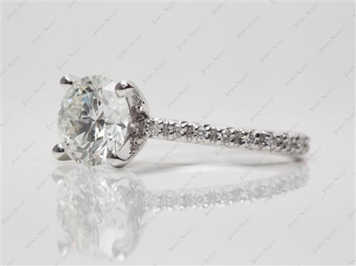 Platinum 1.50 Round cut Pave Ring