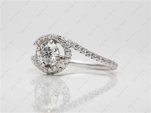 White Gold  Micropave Engagement Ring
